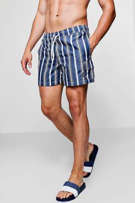 boohoo Navy Stripe Swim Short