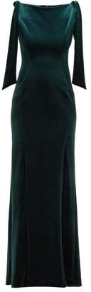 Emilio De La Morena Princess Cut Velvet Dress - Womens - Dark Green