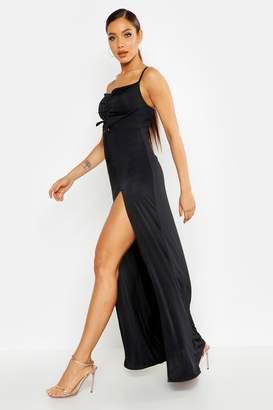 boohoo Strappy Rouche Front Split Maxi Dress