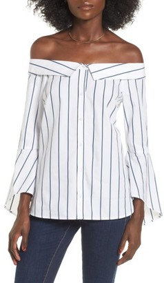 Women's Leith Portrait Collar Stripe Blouse $59 thestylecure.com