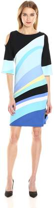 Gabby Skye Women's 3/4 Sleeved Cold Shoulder a-Line Dress
