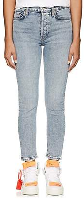 RE/DONE Women's High-Rise Ankle Crop Skinny Jeans - Blue