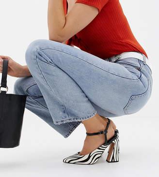 Asos Design DESIGN Wide Fit Pioneer premium leather heels in zebra animal print