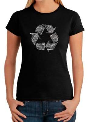 Women's Medium Word Art Recycle T-Shirt in Black $19.99 thestylecure.com