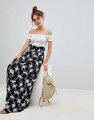 Asos Design Maxi Skirt with Paperbag Waist in Mono Floral Print