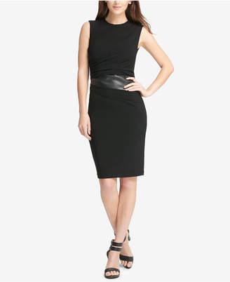 DKNY Faux-Leather-Trim Sleeveless Sheath Dress