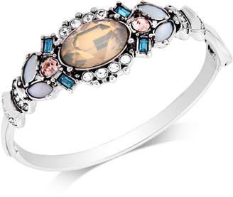 GUESS Silver-Tone Multi-Stone Hinged Bangle Bracelet