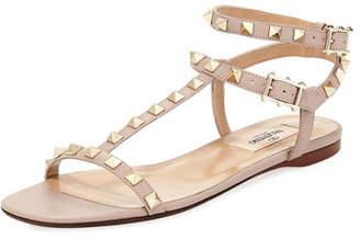 Valentino Rockstud T-Strap Flat Sandal