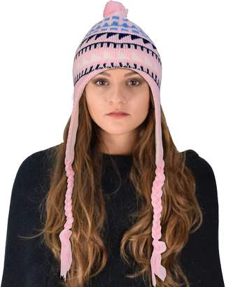 Couture Peach Thick Winter Knit Tribal Snowflake Unisex Trooper Trapper Ski Hat