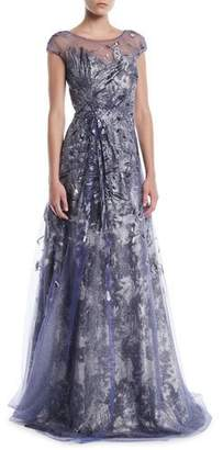 Rene Ruiz Brocade Cap-Sleeve Illusion Gown