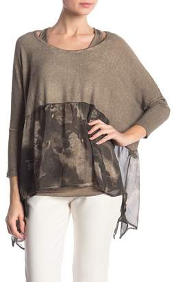 Tempo Paris Dolman Flounce Hem Sweater with Racerback Tank