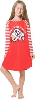 Looney Tunes Girls 'Santa Tweety and Bugs Bunny Holiday Merry Christmas' Fleece Striped Pajama Gown