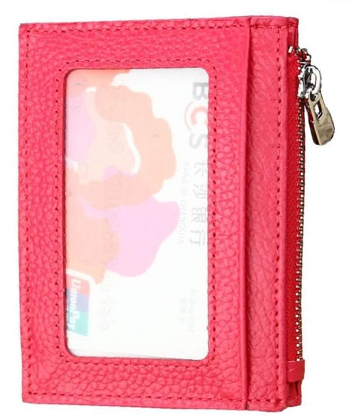 Ogem RFID Blocking Leather Slim Zipper Credit Card holder Wallet Card Case Purse