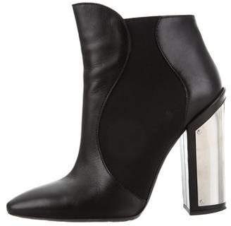 Giambattista Valli Leather Round-Toe Ankle Boots
