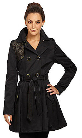 Betsey Johnson Fit-and-Flare Eyelet Trench Coat
