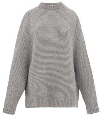 Raey Crew Neck Basket Weave Wool Sweater - Womens - Grey Marl