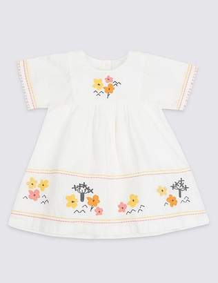 Marks and Spencer Embroidered Pure Cotton Dress