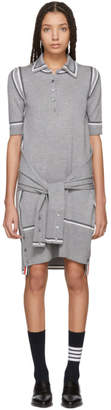 Thom Browne Grey Merino 2-in-1 Cardigan Polo Dress