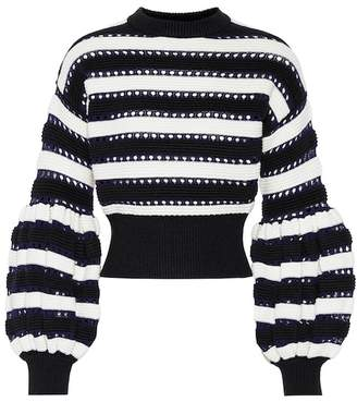 Self-Portrait Cotton and wool-blend sweater