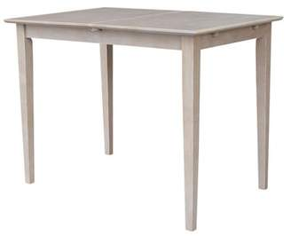 "INC International Concepts Solid Wood Counter Height Table with 12"" Butterfly Leaf - Washed Gray Taupe"