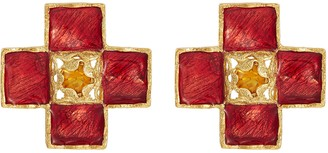 Loren Stazia Diamante cross stud clip earrings