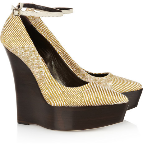 Burberry Woven wooden wedge pumps