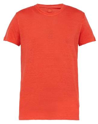 120% Lino Slubbed Linen Crew Neck T Shirt - Mens - Red