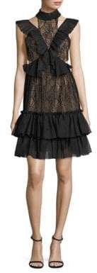Three floor Raven Ruffled Lace Choker Dress