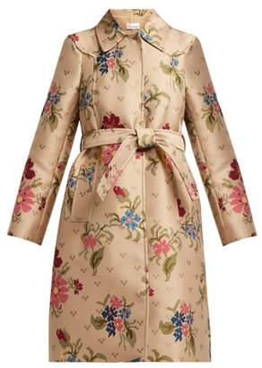 RED Valentino Floral Jacquard Trench Coat - Womens - Beige Multi