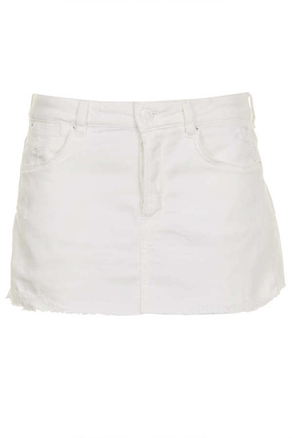 Topshop MOTO White Denim Rip Skirt