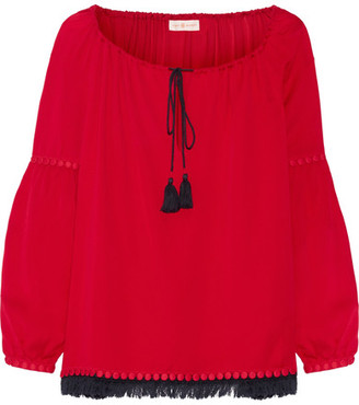 Tory Burch - Sylvie Fringe And Guipure Lace-trimmed Silk Blouse - Red $325 thestylecure.com