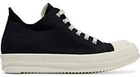 Rick Owens Rubber-Paneled Canvas Sneakers
