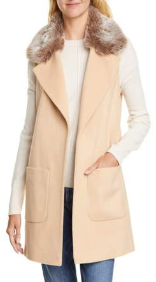 Helene Berman Faux Fur Collar Wool & Cashmere Blend Vest