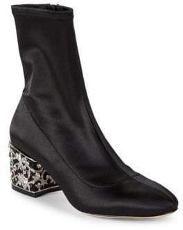 Badgley Mischka Martine Rhinestone Block Heel Boots
