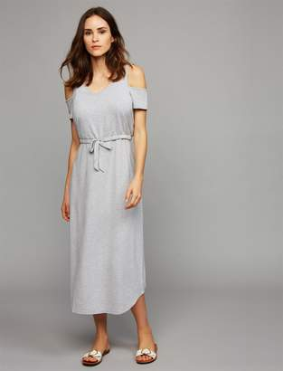 A Pea in the Pod Pull Down Cold Shoulder Nursing Dress