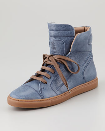 Brunello Cucinelli High-Top Leather Sneaker