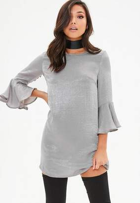 Missguided Silver hammered satin frill sleeve dress
