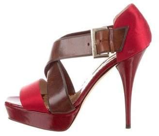 Oscar de la Renta Mixed Media Square-Toe Sandals