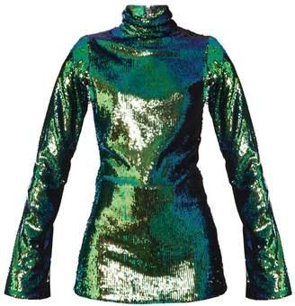 Halpern - High Neck Sequin Embellished Top - Womens - Green