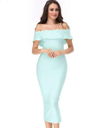 UONBOX Women's fluted Mid-Calf Off Shoulder Party Bandage Dress with Back Split (XL, )