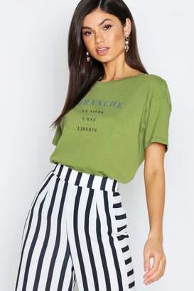 boohoo Slub Marl Slogan Oversized T-Shirt