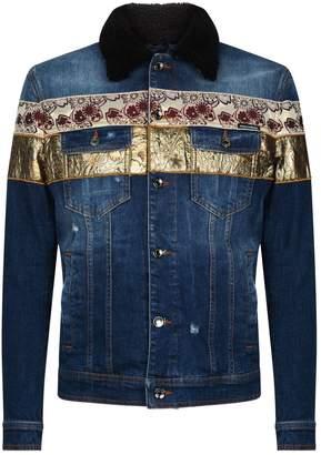 Dolce & Gabbana Brocade Detail Denim Jacket