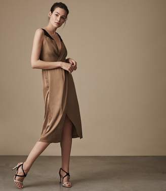 Reiss Pia Satin Wrap-Front Midi Dress
