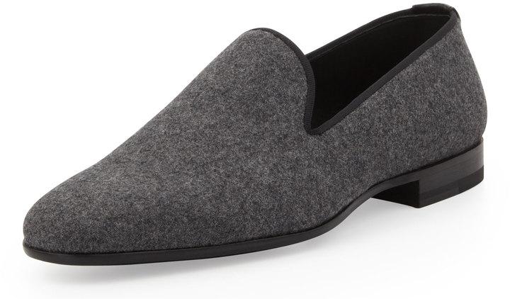 Bergdorf Goodman Flannel Venetian Loafer, Gray