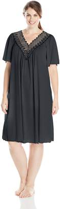 Shadowline Women's Plus Size Beloved 40 inch Flutter Sleeve Waltz Gown