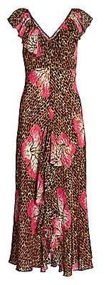 Rixo Women's Antoinette Floral & Giraffe Print Midi Dress