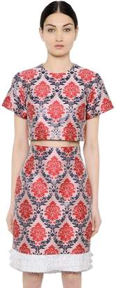 Mary Katrantzou Damask Lurex & Satin Jacquard Crop Top