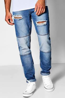 boohoo Mid Blue Denim Skinny Fit Patchwork Jeans