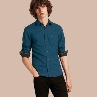 Burberry Check Detail Cotton Flannel Shirt $295 thestylecure.com
