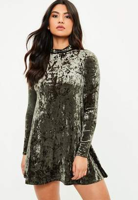 Missguided Khaki High Neck Crushed Velvet Swing Dress, Green